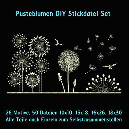 Pusteblumen DIY Stickdatei Set http://www.rock-queen.de/epages/78332820.sf/de_DE/?ObjectPath=/Shops/78332820/Products/2250
