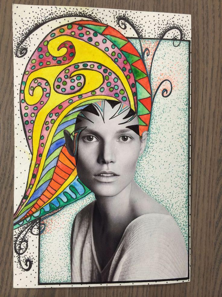 +opdracht: Bijzonder kapsel. Knip een portret uit een tijdschrift-opplakken en stylen maar dat haar! LIJN: Droedelen: Droedelen (Engels doodle) is een vorm van schetsen/tekenen zonder duidelijk doel, door iemand wiens gedachtes ergens anders zijn. Het zijn krabbels gemaakt vanuit het onderbewuste. De droedels bevatten soms een verborgen boodschap. Vaak zijn het eenvoudige tekeningen, soms groeien ze uit tot uitgebreide patronen.