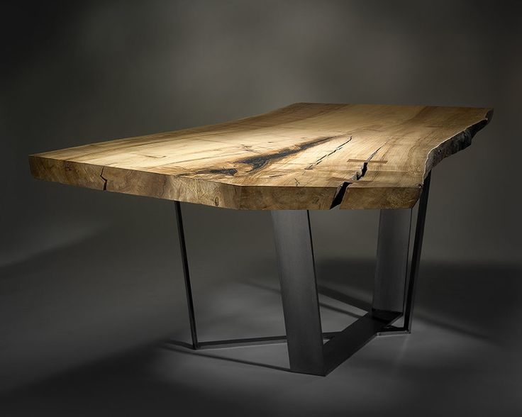 Custom Dining Table With Spalted Maple Slab And Cast Metal Legs