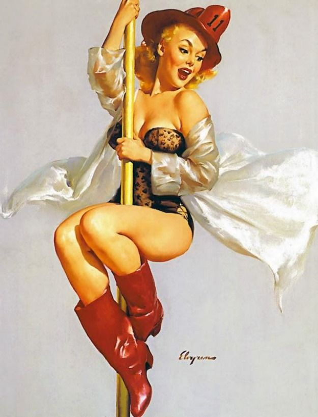 Pole Dance Cartoons - Vintage Style - Pine up and Pole - Lucky me!