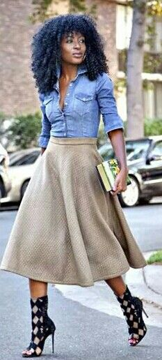 Denim Shirt and Quilted Skirt