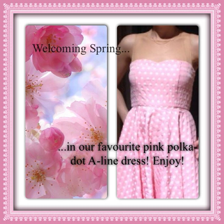 Welcome Spring with a polka dot in pink with a nude illusion on the top and A-line from Amarisso New York.