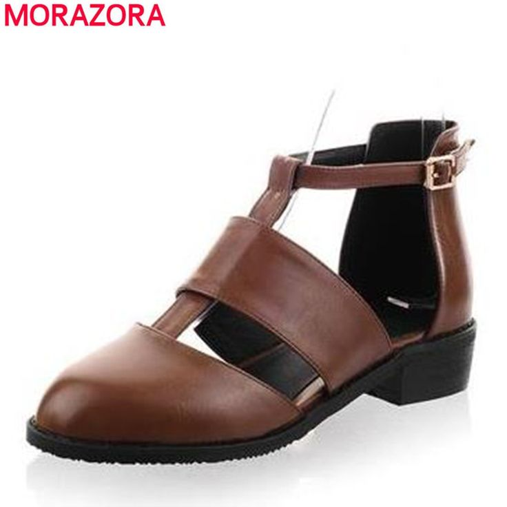 MORAZORA Big 34-47 2017 women sandals PU soft leather  round toe low heels shoes elegant buckle high quality  summer shoes #Affiliate