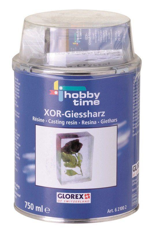 XOR Giethars van Hobby Time  Kwaliteitsgiethars op 2 componenten basis, hars     verharder, met UV filter tegen het vergelen   van de gietstukken. Speciaal geschikt voor   biologische objecten, zoals bloemen, vlinders   enz. Iedere verpakking bevat giethars,   verharder, mengbakje en handleiding.  Leverbaar per blik met 250 ml. en 750 ml