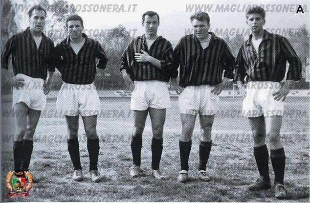 """Santiago Vernazza (AC Milan, 1960–1961, 29 apps, 14 goals), Mario Maraschi (AC Milan, 1960-1961, 13 apps, 2 goals), Pierluigi Ronzon (AC Milan, 1960-1961, 20 apps, 3 goals), José João Altafini (AC Milan, 1958–1965, 205 apps, 120 goals), and Giovanni """"Gianni"""" Rivera (AC Milan, 1960–1979, 501 apps, 122 goals), season 1960/1961."""