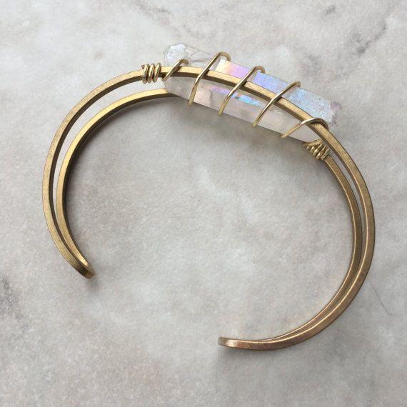 Kwarts verpakt Manchet armband Messing Verstelbaar