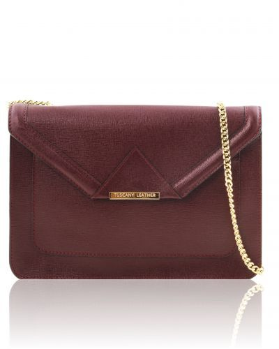 IRIDE TL141565 Saffiano leather clutch with chain strap