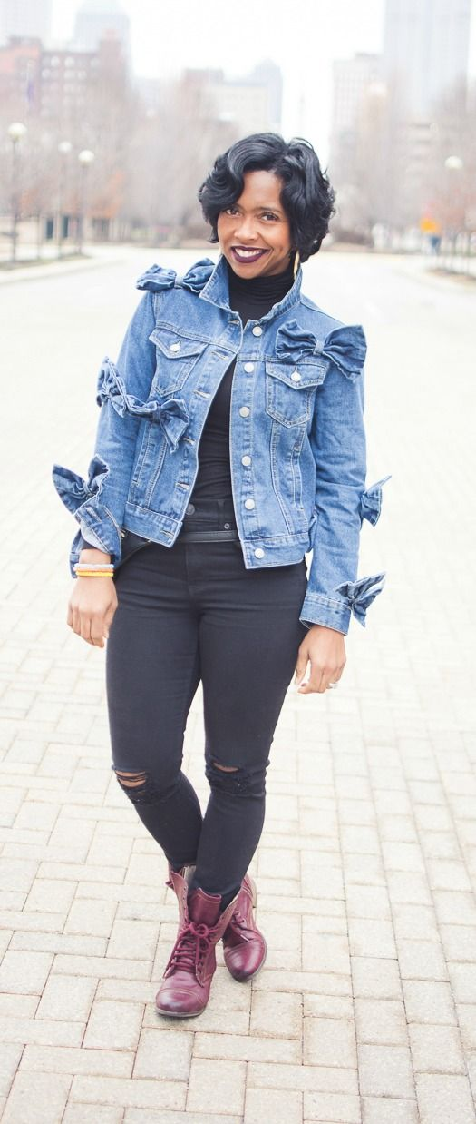 Denim Jacket,  Black Jeans, Combat boots, Bow Denim Jacket