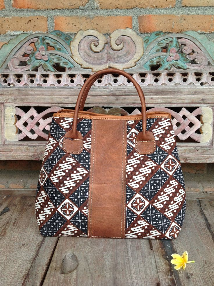 Arimbi Leather Top Handle Bag in Parang Batik Domino pattern