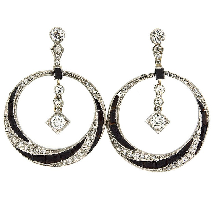 drooling over these Art Deco + Diamonds + Black Onyx + Platinum earrings