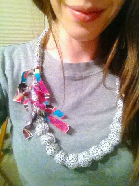 fabric beaded necklace.