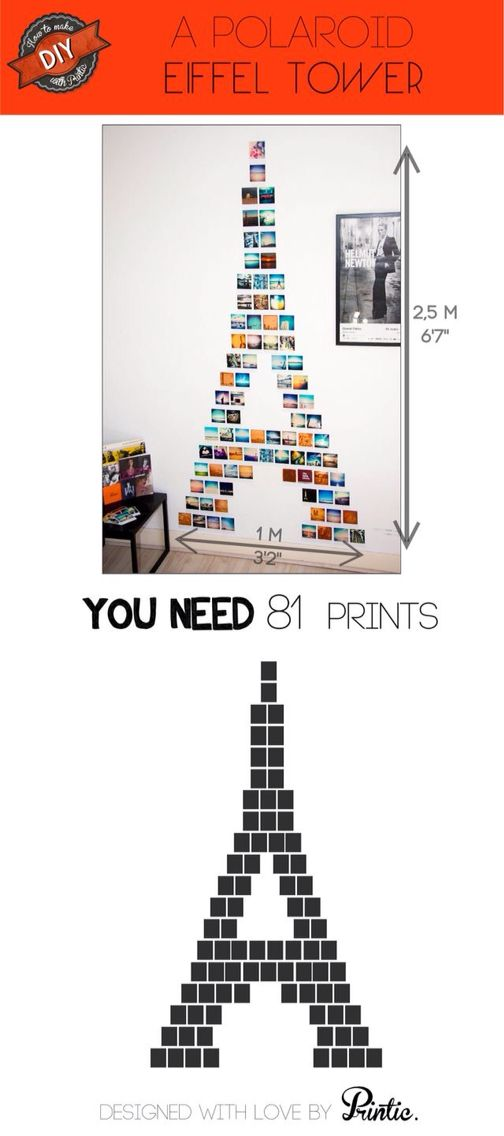 Eiffel Tower wall decor made of pictures.maybe with 81 black and white pics of me