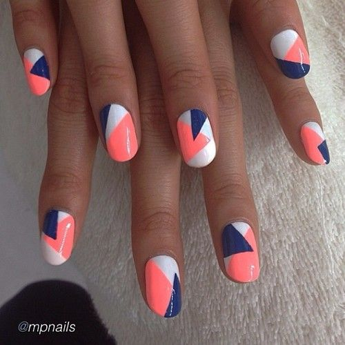Geometric nails. Love this colour combination! apricot navy white silver