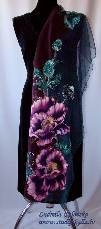 Natural silk shawl floral blue purple green by Studijakalla