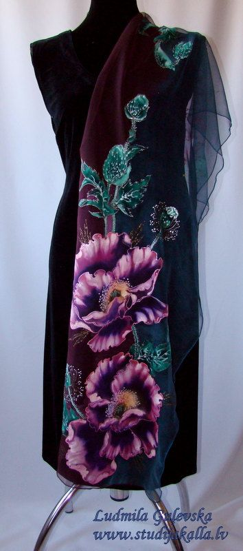 Natural silk shawl floral blue purple green by Studijakalla