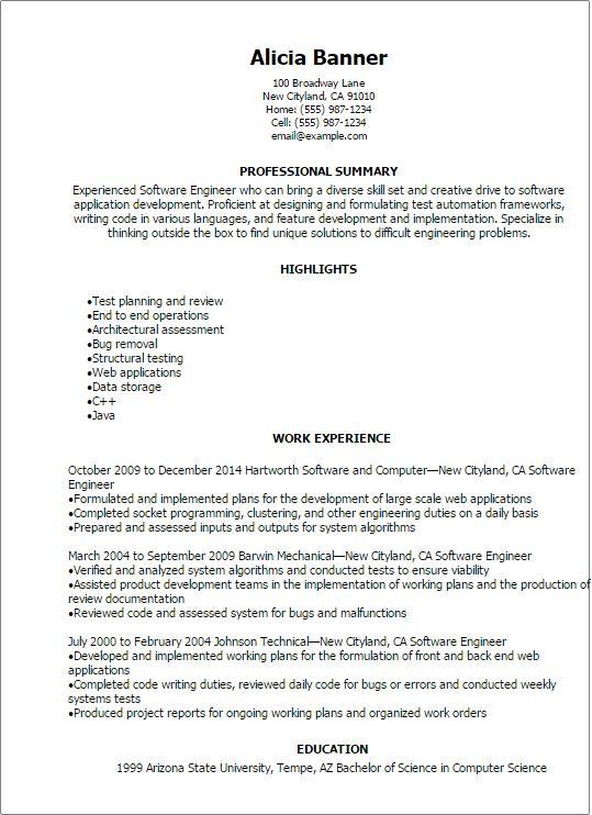 Software Developer Engineering Resume Templates Resume Software