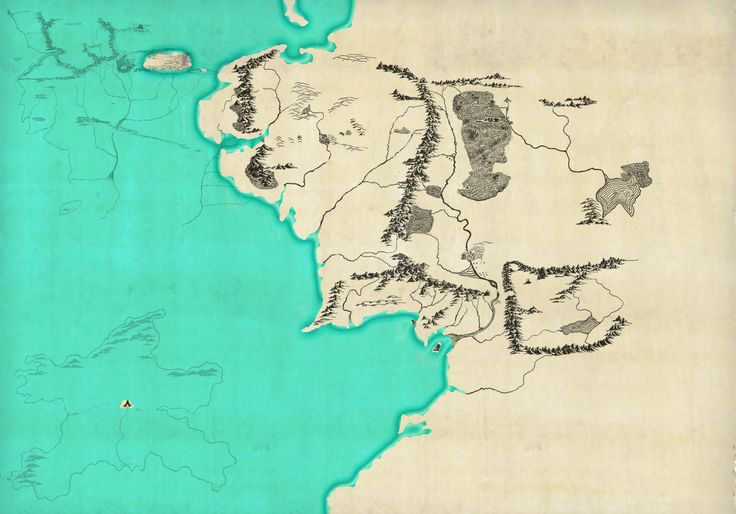 J.R.R. Tolkien's Middle-earth in the Third Age. The Silmarillion map and the map of Númenor are fitted to the LotR map at the same scale.