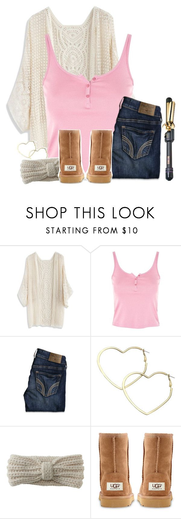 """""""Comfy Cozy in Pink"""" by xomadibbyyy ❤ liked on Polyvore featuring Chicwish, Topshop, Hollister Co., Thalia Sodi, Aéropostale, UGG Australia and Hot Tools"""