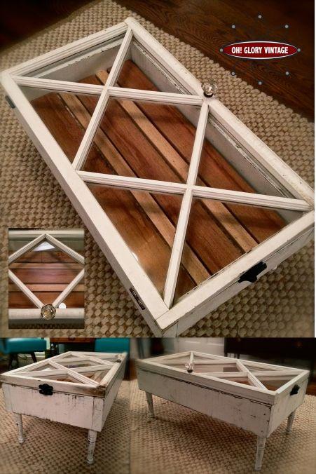 Window coffee table with diamond shaped panes and crystal door knob handle.