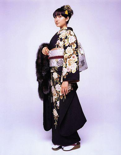 gorgeous kimono and fur shawl.