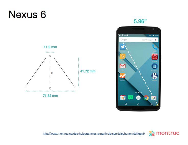 Mesures pour construire un projecteur d'hologramme 3D avec un boîtier de CD sur Nexus 6 A= 11.9mm |  B= 41.72mm |  C= 71.52mm