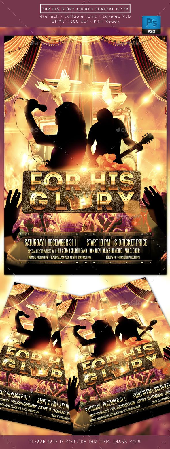 For His Glory Church Music Concert Flyer — Photoshop PSD #music #god • Download ➝ https://graphicriver.net/item/for-his-glory-church-music-concert-flyer/19250933?ref=pxcr