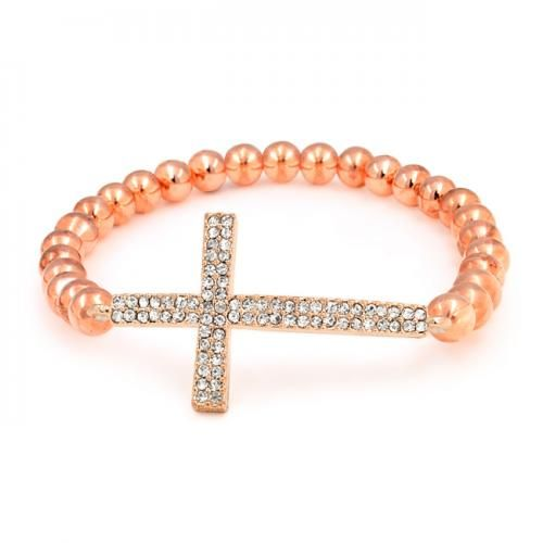 Bling Jewelry Crystal Cross Rose Gold Plated Shamballa Inspired Stretch Bracelet