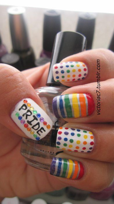 """Adorable """"PRIDE"""" nail art - the polka dots are my favorite! Another by www.victoria7.tumblr.com"""