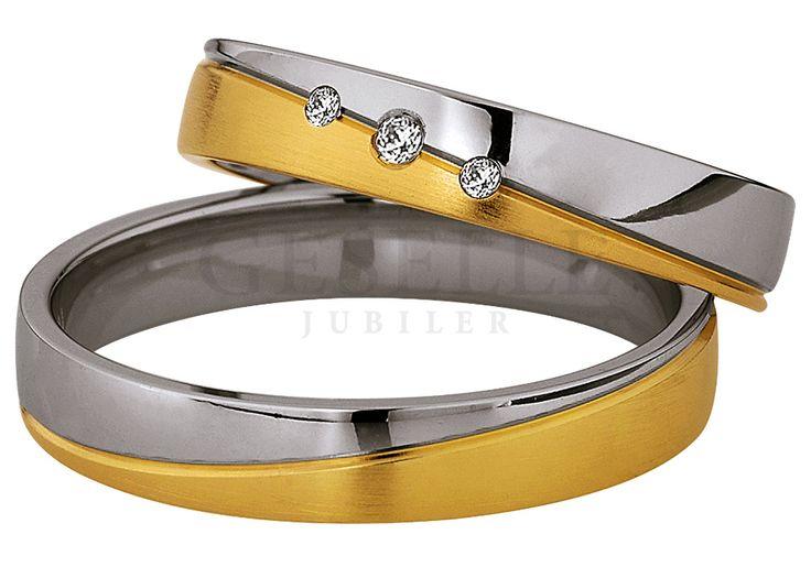 Pełen elegancji komplet dwukolorowych obrączek ślubnych z lśniącymi kamieniami od GESELLE Jubiler