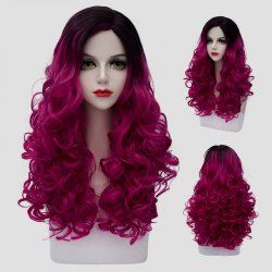 Attractive Shaggy Curly Synthetic Trendy Black Ombre Purple Long Costume Play Wig For Women