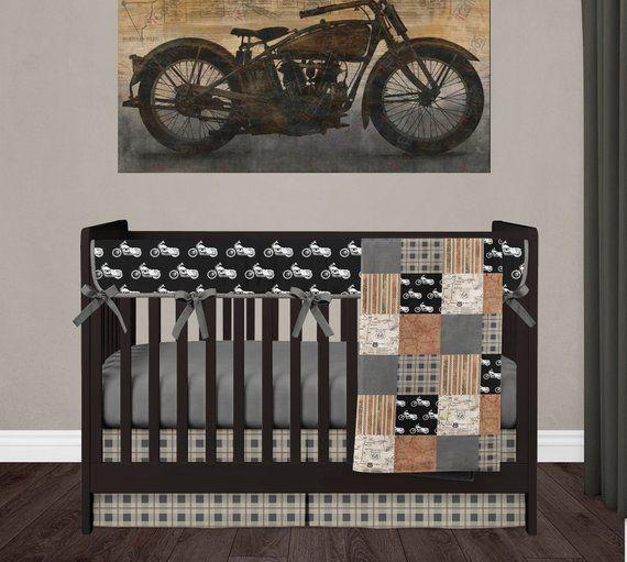 Motorcycle Blanket Nursery Crib Bedding Set Baby Boy Etsy Baby