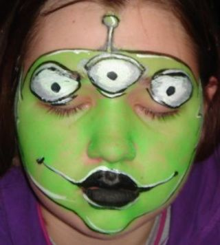 I bought several packages of face paint after Halloween for less than .10c each. This would be so cute at our alien party
