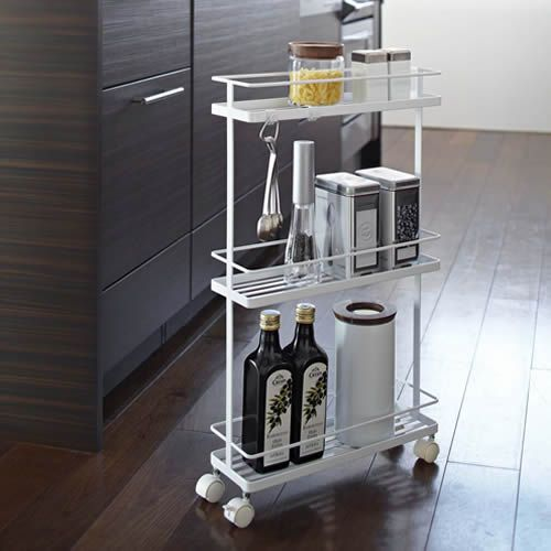 Slimline Kitchen Storage Trolley - Tidy Kitchen Organisation | Worktop Organisation | Cupboard Organisers | Kitchen Racks