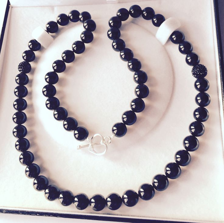 Mystic Black Swarovski necklace with 925 sterling silver heart toggle clasp