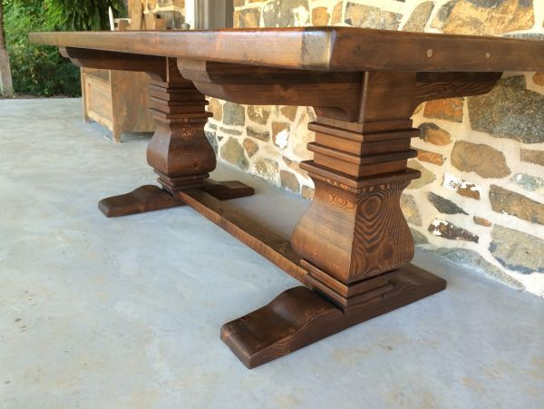 Our Tuscany Anna Trestle Base Made Out Of Reclaimed Barn Wood!  Www.furniturefromthebarn.