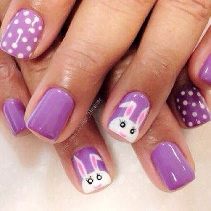 Purple bunny nails for Easter by The Nail Lounge Miramar