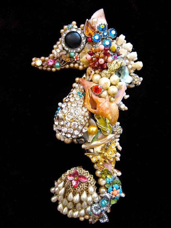 Seahorse Jewelry Mosaic Art Vintage Costume Jewelry Wall ...
