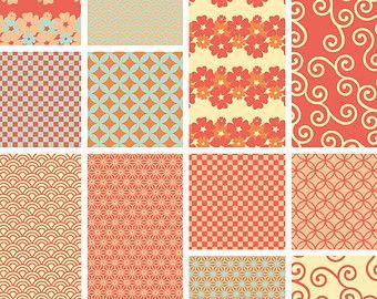 Naranja Papel Patrón japonés - Japonés inspirado Productos Papel para Scrapbook y Oficios - Para imprimir Paquete de papel digital