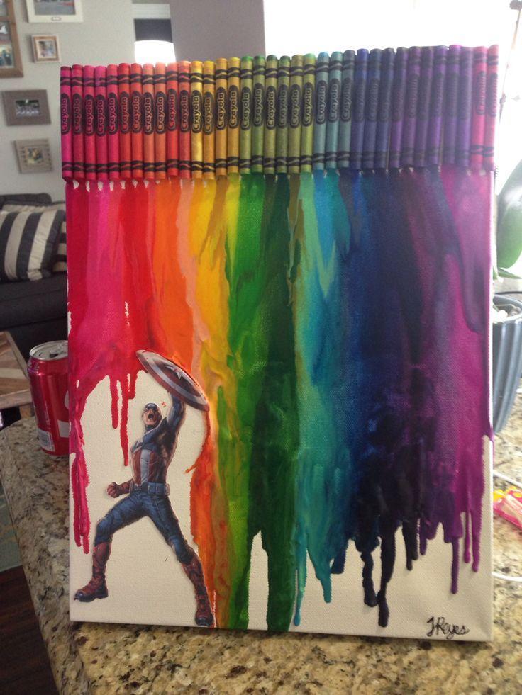 DIY crayon art ft. Captain America