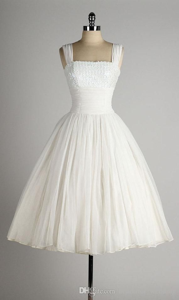 Buy Dresses Online 1950 Style Wedding Dresses A Line Square Neck Sleeveless Tea Lenght White Chiffon Vintage 1950s Dress Iridescent Sequin Bust Custom Made Lace A Line Wedding Dress From Beautiful_wedding, $131.8| Dhgate.Com