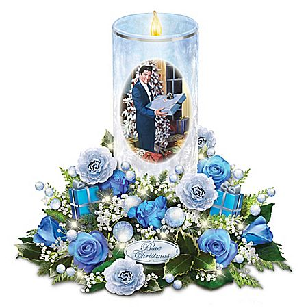 Elvis Presley Candle with Blue Rose Bouquet Plays Blue Christmas and Lights Up