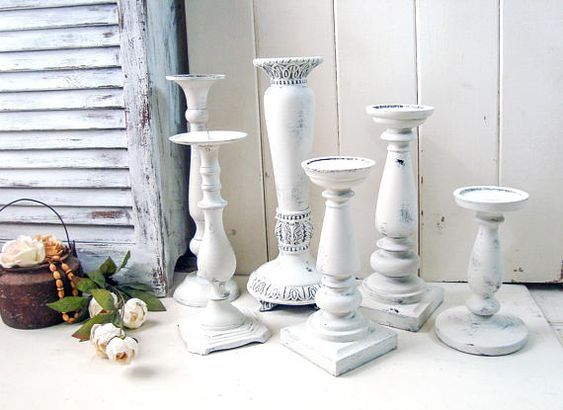 White Rustic Candleholders Farmhouse White Candlestick