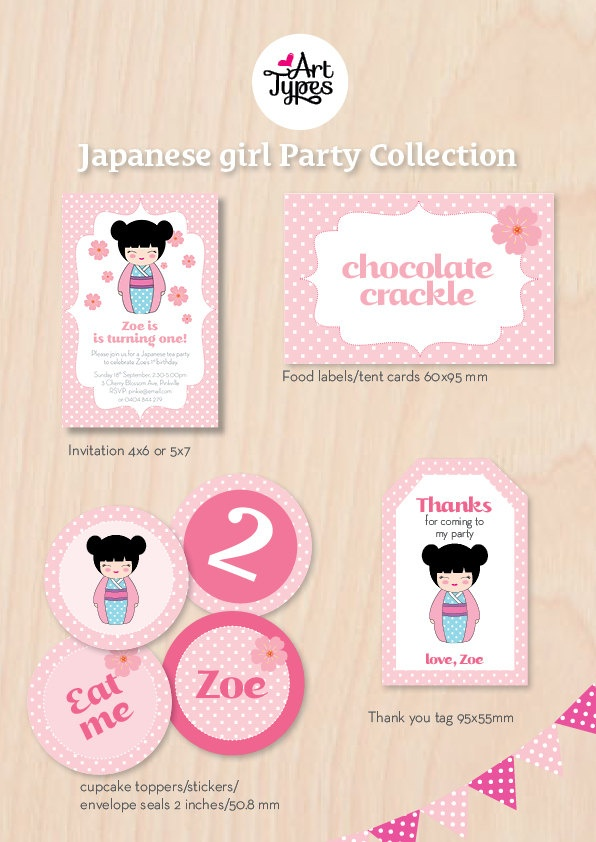 17 best Kimmidoll Inspired Party images – Japanese Birthday Invitations