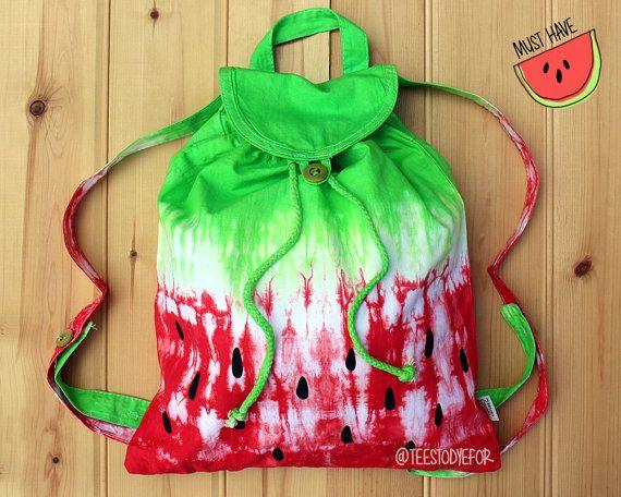 Watermelon Tie Dye Ombre Backpack Bag