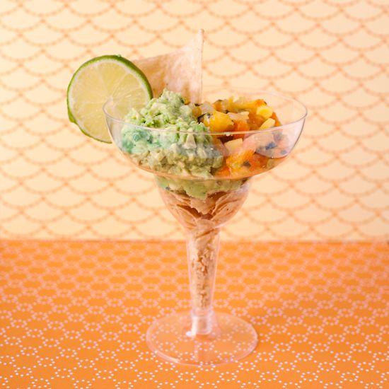 appetizer — chips, salsa, and guacamole served in individual margarita glasses. Delicioso!