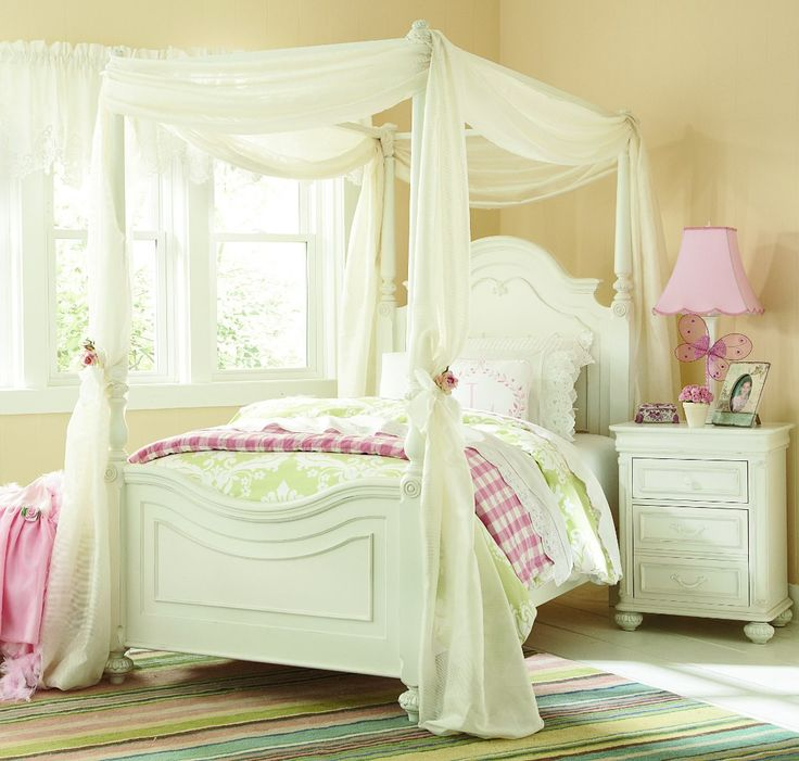Legacy Classic Kids Charlotte Low Poster Bedroom Set with Canopy - Antique White with Light Distressing & 27 best Canopy Bedrooms images on Pinterest | Bedrooms Canopy ...