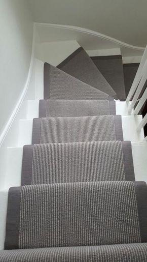 Grey Carpet Runner to Stairs: #stairs #carpet #interiordesign #homedecor
