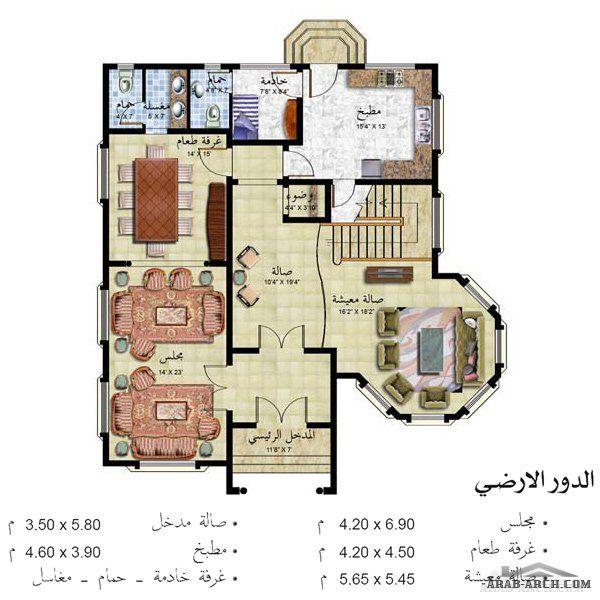 مخطط فيلا خليجى طابقين 367 متر مربع Arab Arch House Map Indian House Plans New House Plans