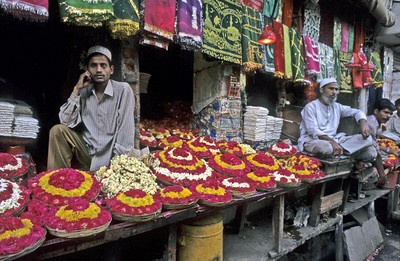 Flowers and garlands for sale at a local bazaar