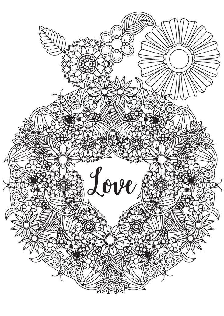 De 169 b sta hearts love coloring pages for adults for Love mandala coloring pages
